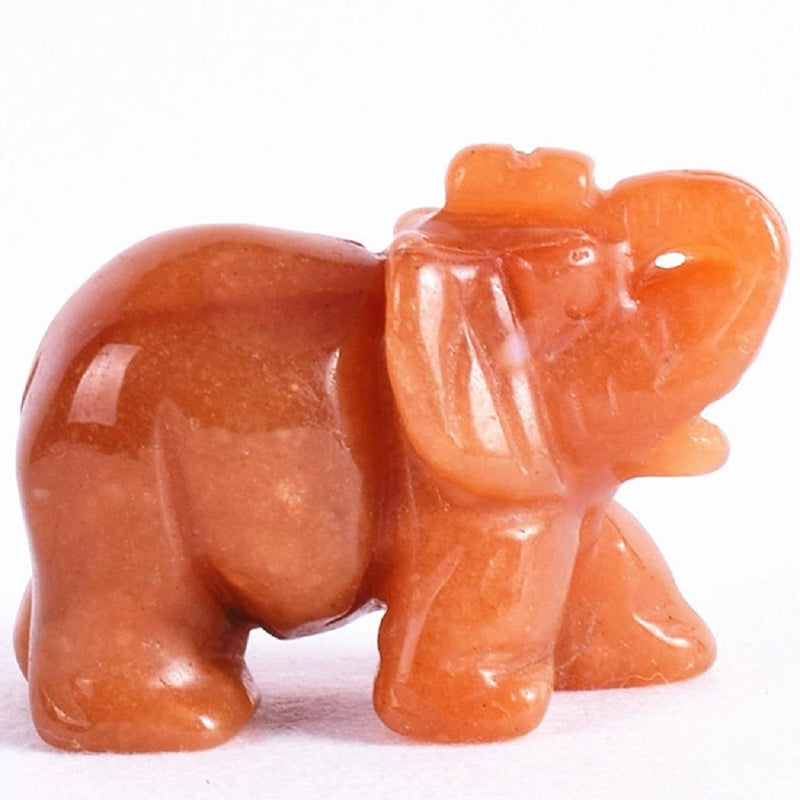 Natural Red Agate Elephant Figurine