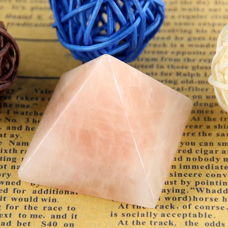 Rose Quartz Engraved  Pyramid for Reiki Healing