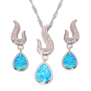 Blue and White Fire Opal Water Drop Jewelry SetJewelry SetBlue