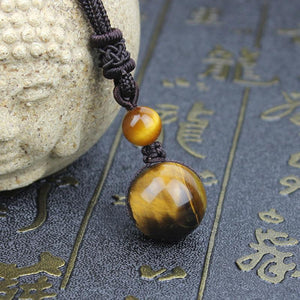 Natural Tiger Eye Bead Pendant - atperry's healing crystals