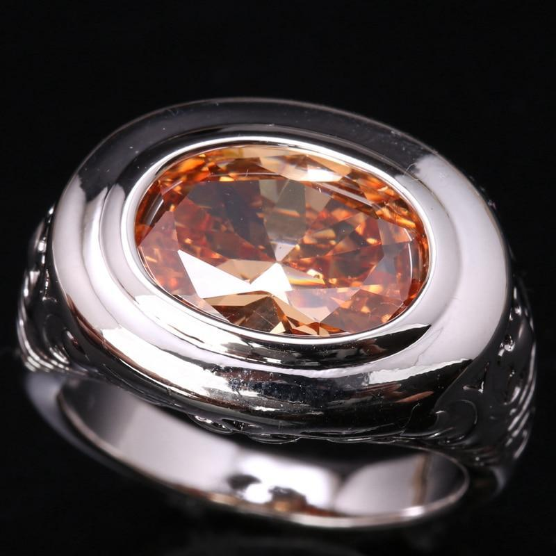 Stunning Champagne Zircon Morganite Ring - 925 Sterling Silver