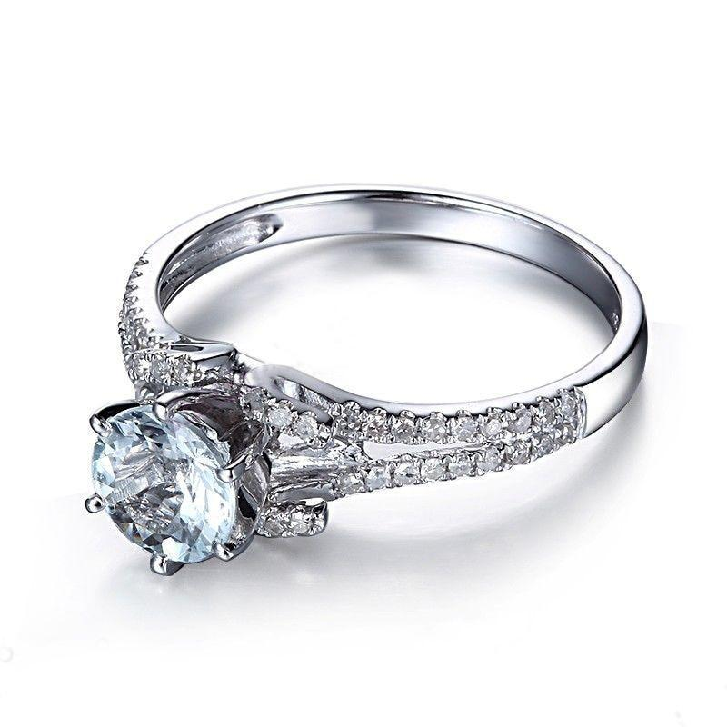 Flawless Genuine Aquamarine Ring- 925 Sterling Silver