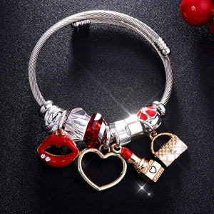 Stylish Red Heart Lips Crystal BraceletBracelet