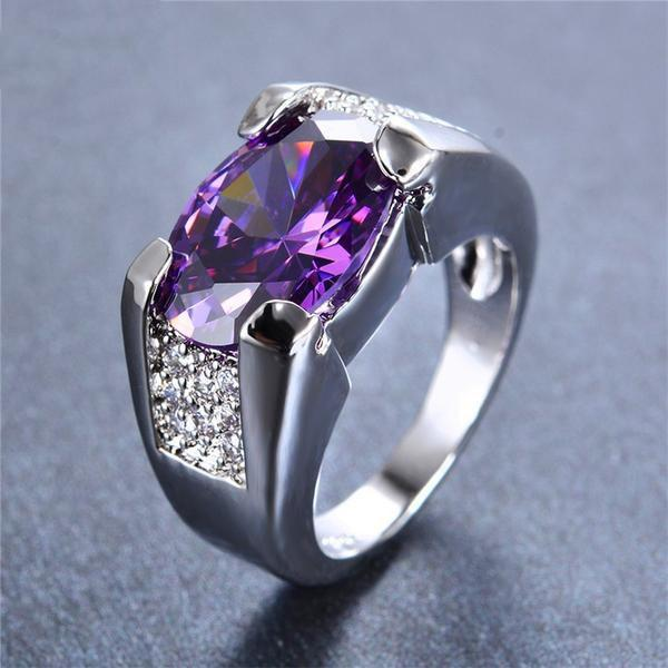 Amethyst White Gold  Ring   matans store.myshopify.com