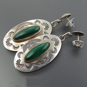 Antique Oval Malachite Dangle Earrings - atperry's healing crystals