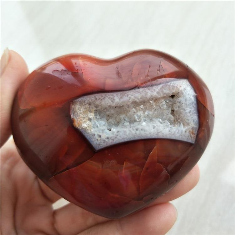 Natural Red Agate Heart Stone Geode - atperry's healing crystals