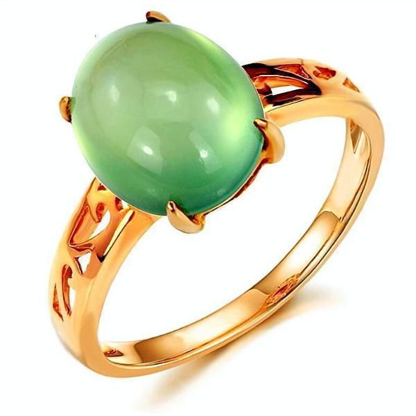 100% Real 14K Natural Green Prehnite Ring - atperry's healing crystals
