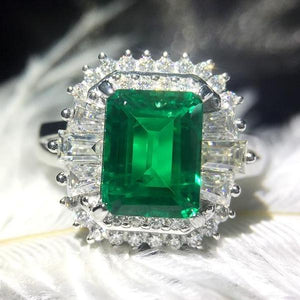 Genuine Solid 14k White Gold Emerald Ring
