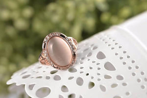 Top Grade Big Opal Stone Rose Gold Plated Ring - AtPerry's Healing Crystals™