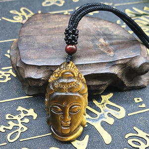Lucky Tiger Eye Buddha Pendant