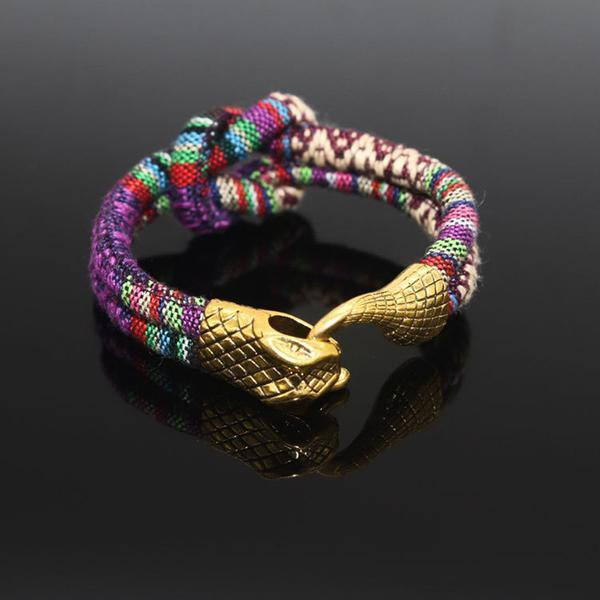 Snake Head Men Bracelet - Gold Plated - AtPerrys Healing Crystals - 1