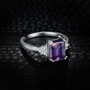 Radiant Genuine Cubic Alexandrite Ring - 925 Sterling Silver - atperry's healing crystals