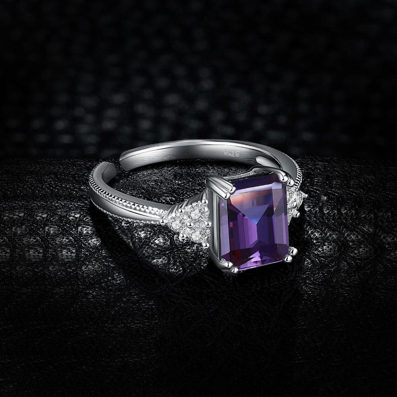 Radiant Genuine Cubic Alexandrite Ring - 925 Sterling Silver