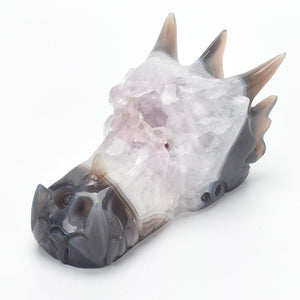 Crystal Dragon Skull  Brown Agate Figurine - atperry's healing crystals