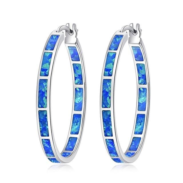 Blue Green Fire Opal Stone Hoop Earrings - 925 Sterling Silver - atperry's healing crystals