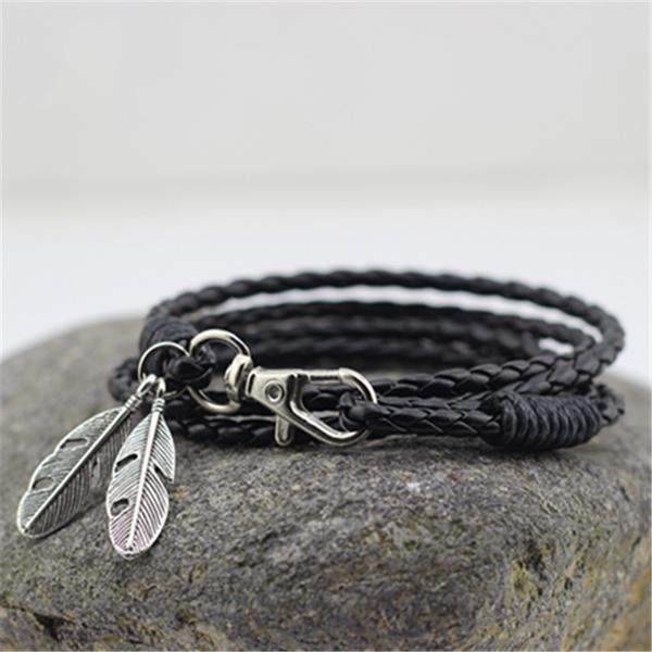 Leather Feather Men Charm - atperry's healing crystals