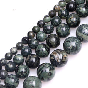 Natural Round Dark Blue Rhyolite Stone Beads - atperry's healing crystals