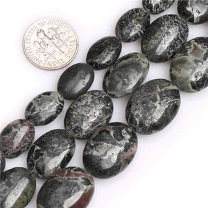 Dark Green Natural Rhyolite Stone Beads - atperry's healing crystals