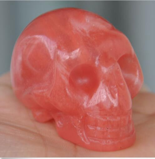 Hand Carved Red Agate Skull Gemstone