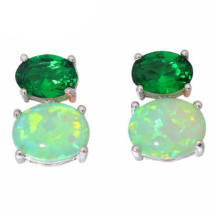 Fire Opal Stone Stud Earrings Silver Large Oval Green Quartz Earring Bohemia BohoEarrings