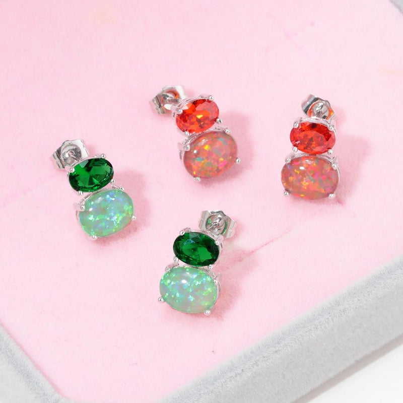 Green, Orange Fire Opal Silver Stud EarringsStud Earrings
