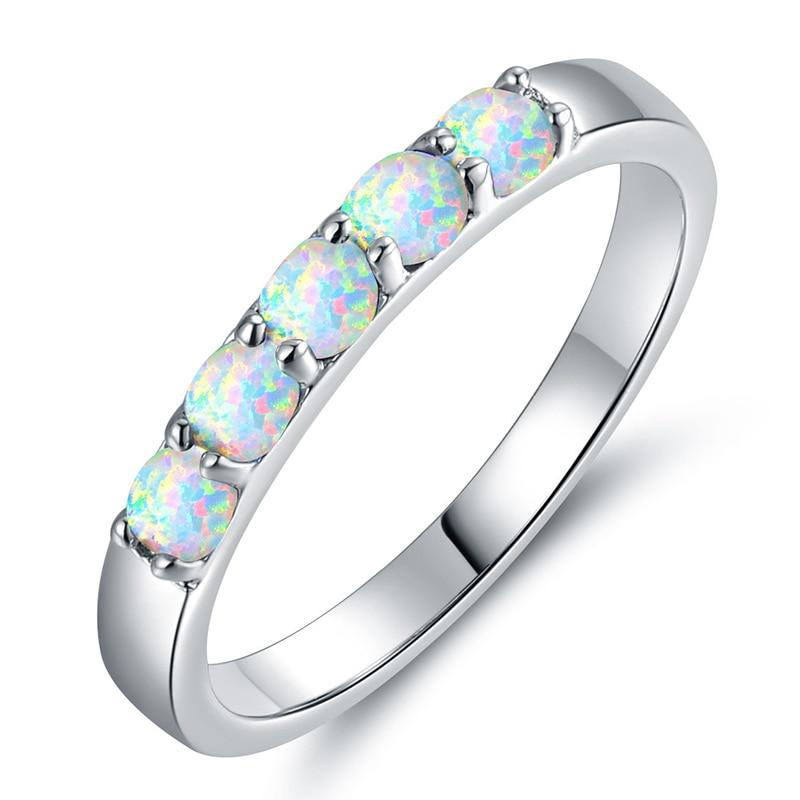 White Fire Opal Geometric Pattern Bohemian Ring - atperry's healing crystals