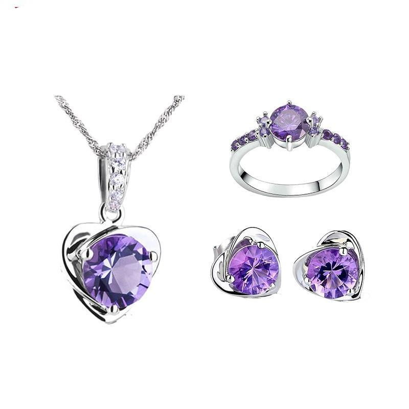 Amethyst Set - Necklace, Ring & Earrings - atperry's healing crystals