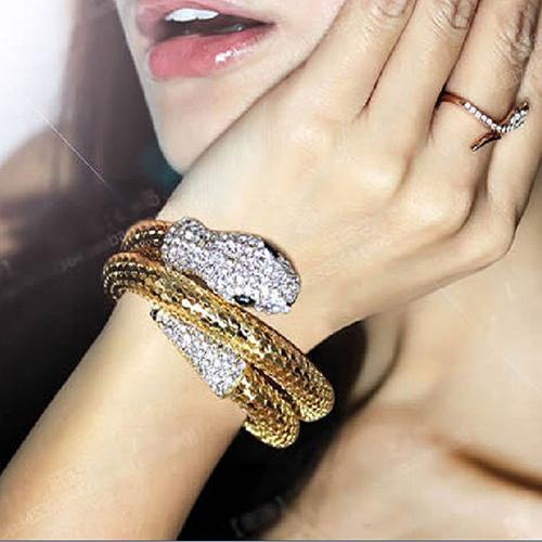 Vintage Retro Punk Rhinestone Snake Cuff Bangle - atperry's healing crystals