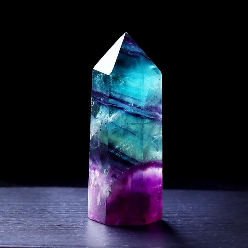 Natural Fluorite Crystal Wand Stone - atperry's healing crystals