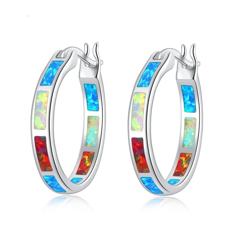 Rainbow Fire Opal Earrings Silver Plated White Orange Blue SmallEarrings