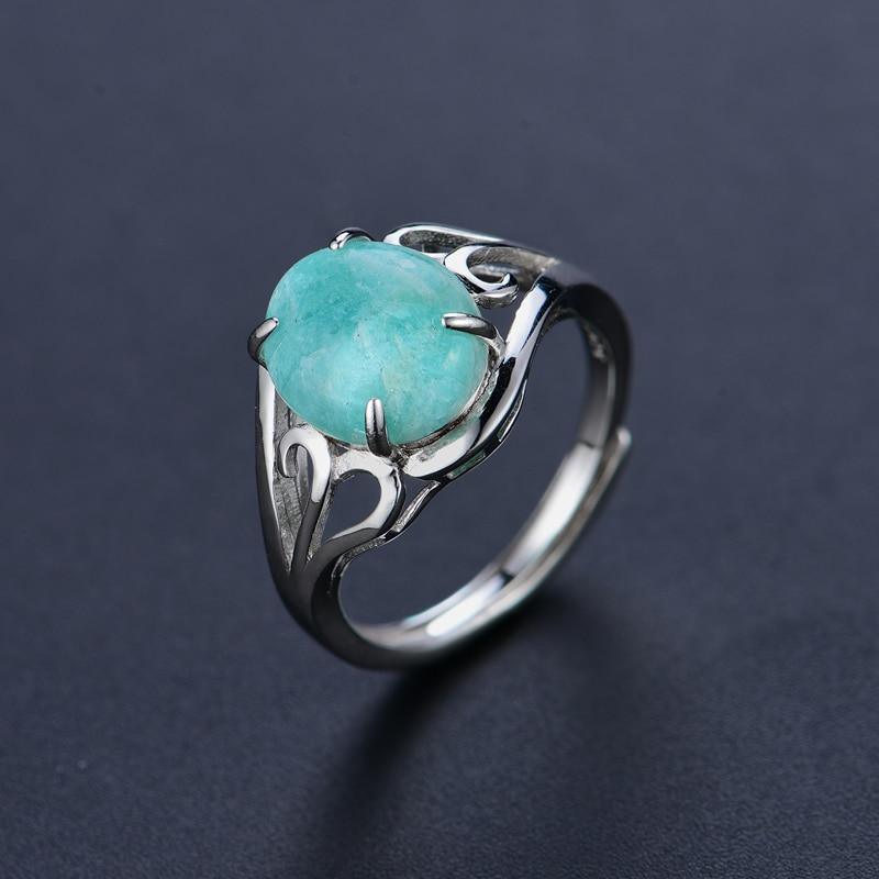100% Natural Larimar Classic Ring - 925 Sterling Silver - atperry's healing crystals