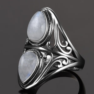 Vintage Rainbow Moonstone Ring - 925 Sterling Silver - atperry's healing crystals