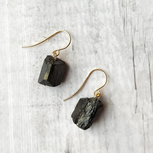 Natural Black Tourmaline Crystal Hook Earrings - 925 Sterling Silver - atperry's healing crystals