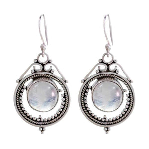 Vintage Bohemian Moonstone Silver Earrings - atperry's healing crystals