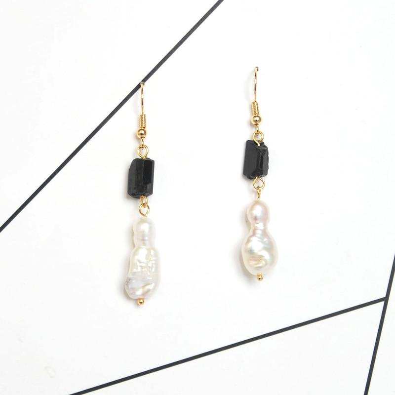Elegant Gold Black Tourmaline Dangle EarringsEarrings