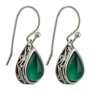 Jade Pear Cut Green Dangle Earrings - 925 Sterling Silver - atperry's healing crystals