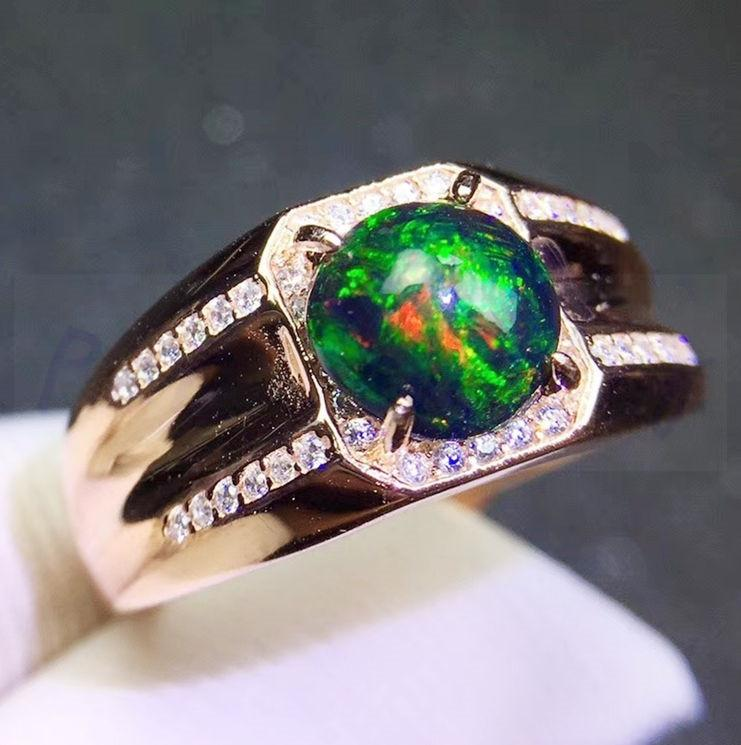 100% Genuine Black Opal - 925 Sterling Silver - atperry's healing crystals