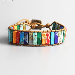 Natural Leather Wrap Tube Bead Stones BangleBracelet