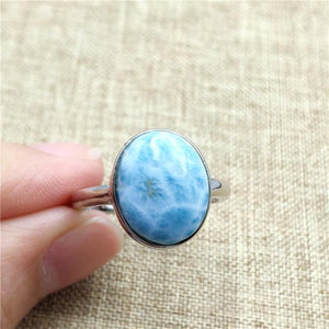 Stylish Natural Larimar Ring - 925 Sterling Silver - atperry's healing crystals