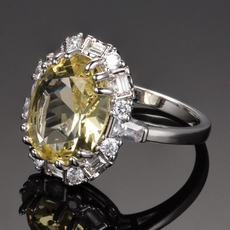 Sparkling Citrine Zircon Ring - 925 Sterling SilverRing
