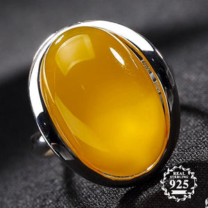 Amber Ring - 925 Sterling Silver - Resizeable - atperry's healing crystals