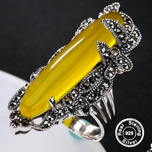 Amber Sterling Silver Ring S925 Fine Jewelry - Resizeable - atperry's healing crystals