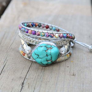 Unique Turquoise Protection Wrap Bracelet - atperry's healing crystals