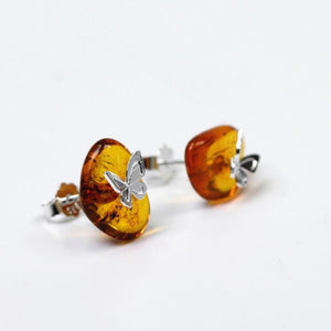 Natural Amber Stud Earrings For Women 925 Sterling Silver Butterfly - atperry's healing crystals
