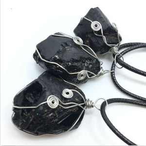 Natural Black Tourmaline Aphrizite NecklacePendant / Necklace