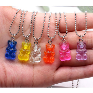Fashion Multicolor Resin Bear Necklace - For Kids