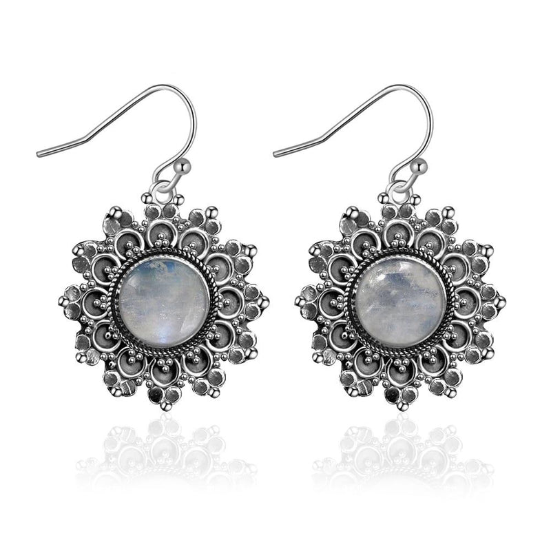 Natural Vintage Moonstone Round Earrings - 925 Sterling Silver - atperry's healing crystals