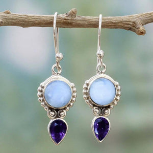 Natural Moonstone Pear Dangling Earrings - 925 Sterling Silver - atperry's healing crystals