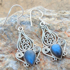Natural Retro Rainbow Moonstone Earrings - atperry's healing crystals