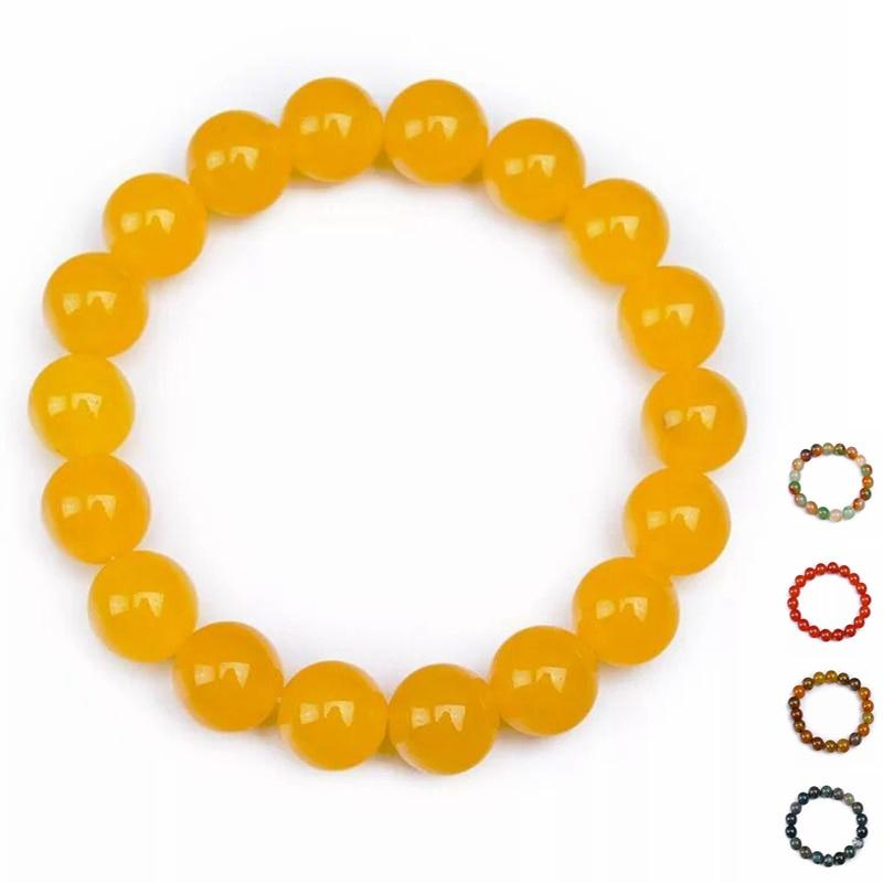 8-10MM Natural Agate Amber Bracelets Love Bangle Cuff Bracelets Gem Stones Bangle Oval Emeralds Amber Mix Color Assort - atperry's healing crystals